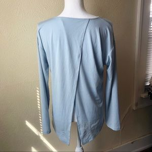 Lucy Open Back Long Sleeve Workout Top L Grey